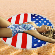 Microfiber Beach Towel American Flag Beach Towel Yoga Mat Sun block Round Bikini Cover-Up Blanke Serviette De Plage Ronde