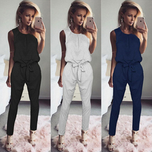 Casual Women Jumpsuit 2017 Fashion Romper Long Pants Jumpsuits Jumper Sleeveless Waist Tie Bow Body Suit Runway Tracksuit WS949T