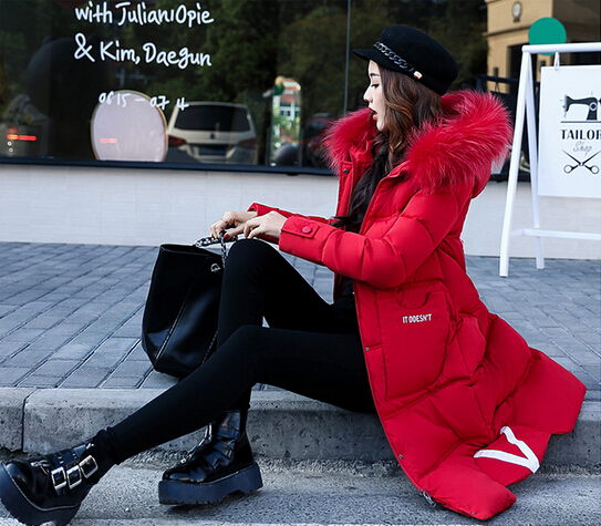 2017 winter women hooded coat fur collar thicken warm long jacket female plus size 3XL outerwear parka ladies chaqueta femininoÎäåæäà è àêñåññóàðû<br><br>