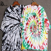 Plus Size XXL 2XL BF Tie Dye Gradient Half Sleeve Loose T-shirt,Harajuku Hippie High Street Paisley Skateboard Top Rainbow Tee