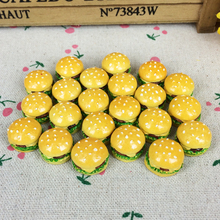 10Pieces Flat Back Resin Cabochon Classic Hamburger Artificial Food DIY Flatback Embellishment Accessories Scrapbooking:17mm
