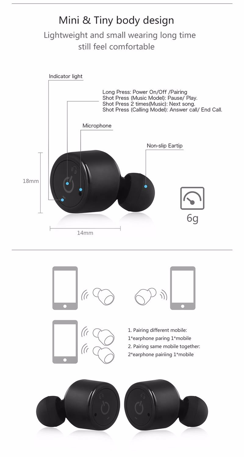 Bluetooth Earphone Sport Bass Stereo CSR 4.2 Wireless Mini Earphones Voice Prompt Earbuds for iphone 7 Xiaomi fone de ouvido