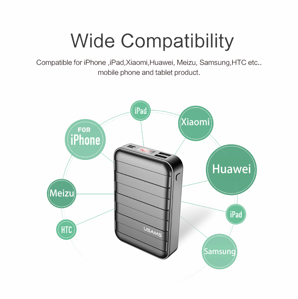 Power Bank 000mAh USAMS LCD Portable PowerBank External Battery Dual USB Charger For Xiaomi iPhone 7 6 6S 5 Mobile Phones Tab 17