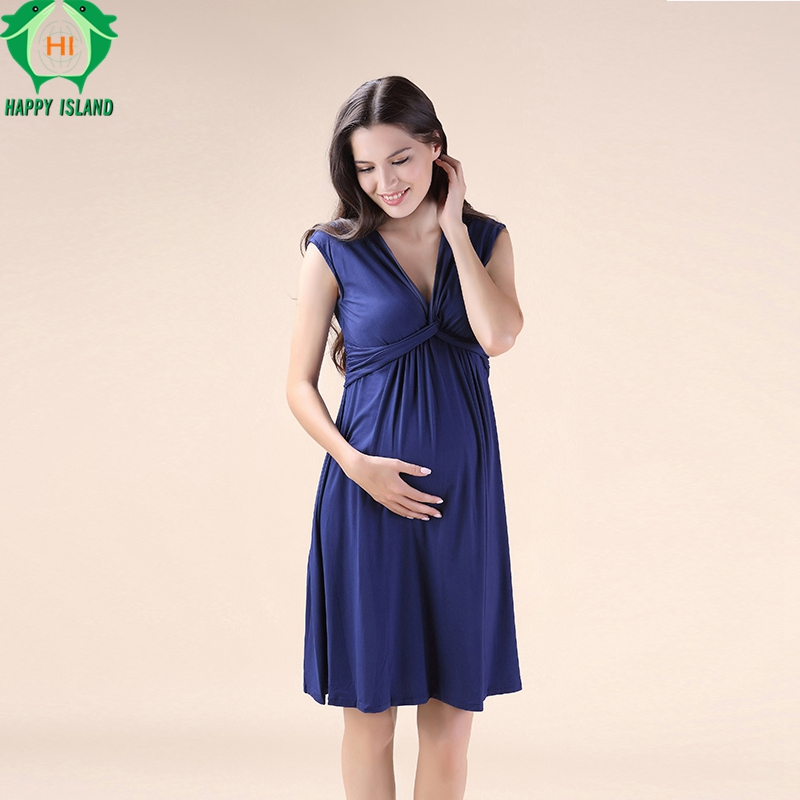 Christmas Summer Elegant Women Evening Party Blue Black Dress Knee Length Maternity Dresses V-Neck Vest Vestidos for Pregnancy<br>