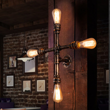 Vintage Nostalgic Industrial Antique Loft Water Pipe Edison Wall Sconce Lamp Bookshelf Bedroom Modern Home Decor Lighting