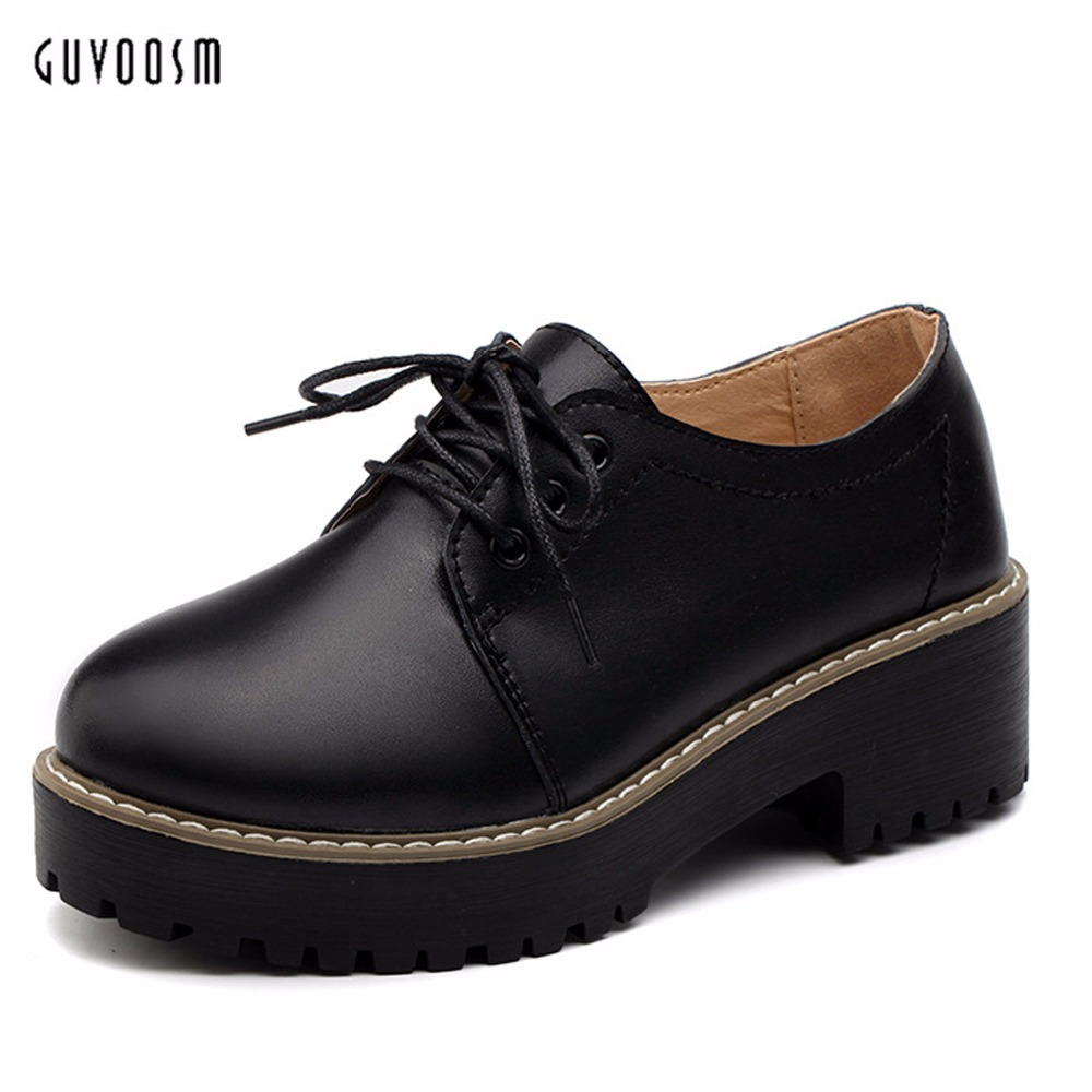 Guvoosm Ladies Med Heels Pumps Sapato Feminino Women Black Casual Rubber Lace-up Shoes Woman Round Toe Big Small Size 31-44 Us10<br>