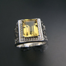 Tbj natural citrine  big ring,simple design ring,good luster citrine ring in 925 silver gemstone jewelry,big square citrine ring