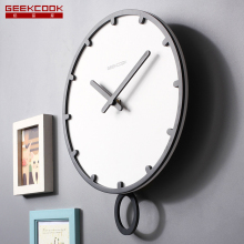 ''Swing the Time'' Europe Style 12 inch Large Wood Wall Pendulum Clock Silent Ticking Quartz Watch for Living Room Office