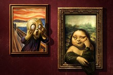 DIY frame When the Cry See the Fat Mona Lisa Funny Painting Style Fabric Silk Poster Print Picture For Home Decoration