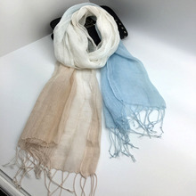 2017 Thin Linen Scarf Dip Dye Gradient Color Scarf Shawl Women Elegant Long Tassel Scarf Wrap(China)