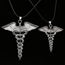 Percy Jackson Necklace Angle Wings Magic Wand Caduceus Pendant Vintage Jewelry Leather Rope For Men And Women Wholesale