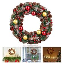 BESTOYARD Christmas Wreath Decorative Garland with Pine Cone Acorn Needle Battery Operated Warm White LED Lights for Decoration(China)