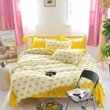 yellow color reactive pinted high quality best price 100%polyester bedding sets for bedroom(China)