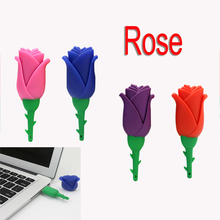 Pendrive 128GB Rose USB Flash Drive Memory Stick/thumb 4gb 8g 16g 32g 64g blue/red flower flash Pendrive U Disk external hd