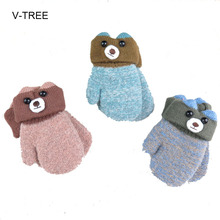 Winter new child thickening warm cartoon gloves Baby Mittens Outdoor double knit hanging neck gloves