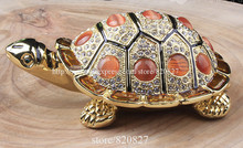 gifts collectible turtle trinket box  turtle jewelry box crystal studded turtle display box jeweled home decor metalcraft