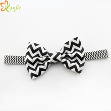 Hot-sale 20pcs/lot 4'' Big Black/White Bow Striped Headband For Infantile Little girls Headband Hair Accessories(China)
