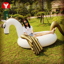 250cm Inflatable Water Gold Pegasus Float Inflatable Colored Pegasus Float Swimming Air Mattress Toy Inflatable Horse Pool Float(China)
