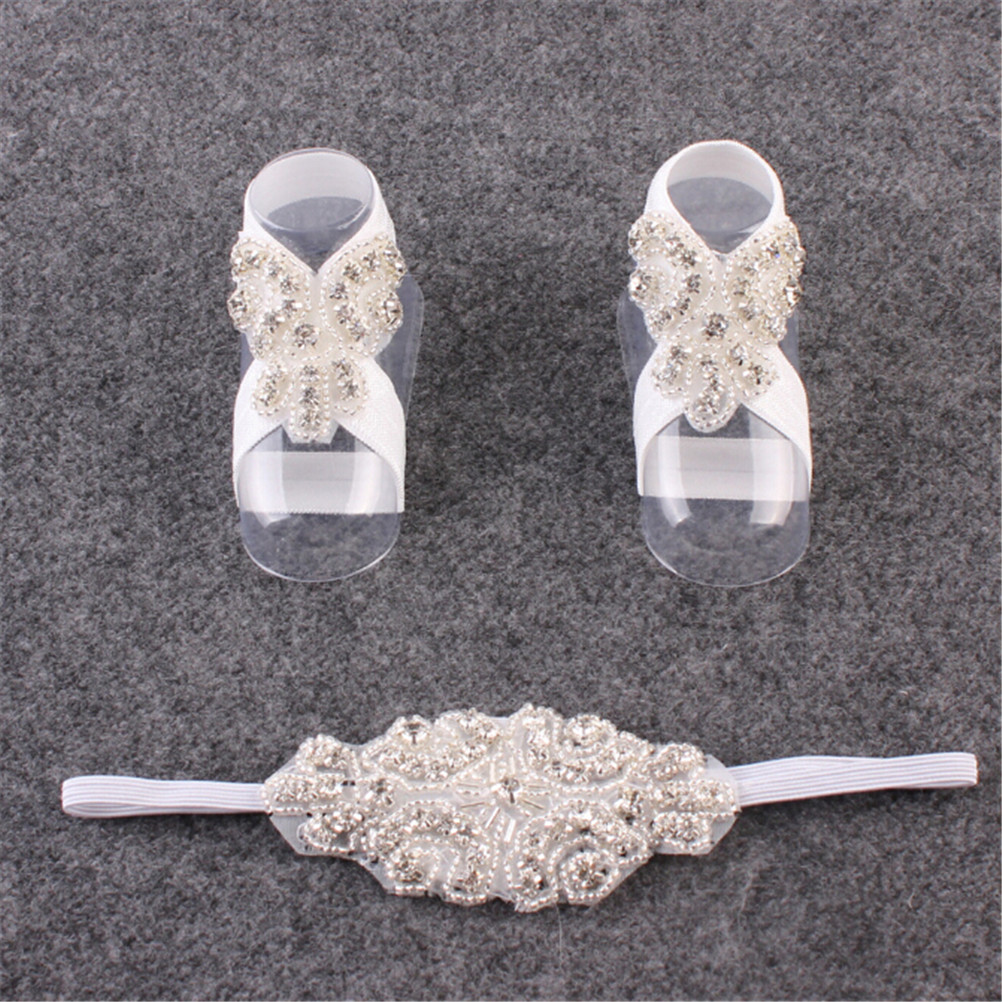 Girl Fake Crystal Headband Foot Band Cloth+Rhinestone Handmade Barefoot Sandals Shoes Flower Hair Band  8*6CM