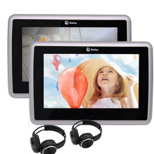 Dual Car Headrest Monitors Wide Touch Screen Player support TV PC CD DVD 1080P Player with USB/SDand Wireless Infrared Headphone