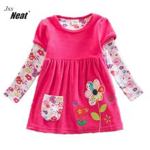 retail baby girl clothes long sleeve girls dress flowers kids clothing princess dresses A-line children clothing LD6660#