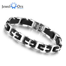 Cross Design Stainless Steel Bracelets & Bangles Fashion Jewelry 215mm Men's Bracelets Gift Ideas For Men (JewelOra BA100163)(China)