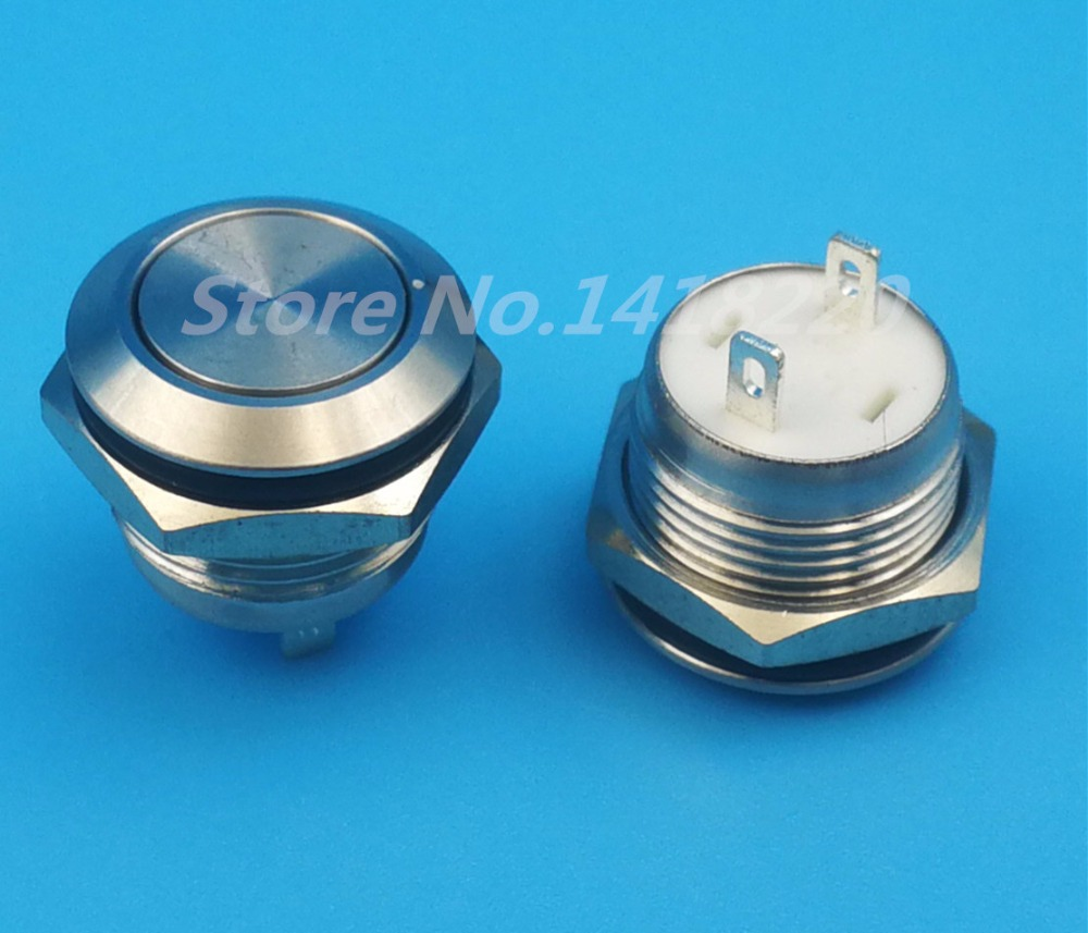 Free shipping 10Pcs 12mm Waterproof Stainless Steel 2Pin 1NO Momentary Mini Push(Click) Button Switch Short Body<br>