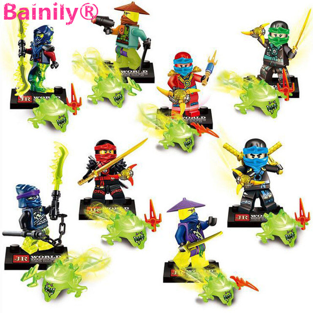 [Bainily]8pcs/lot Phantom Ninja Series Ninjago With Weapon Building Blocks Bricks Set To Enligh Toys For Kids As Friends Gifts<br><br>Aliexpress