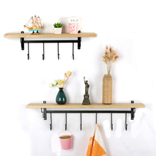 Wooden Wall Hanging Kitchen Flower Racks Living Room Decoration Shelves  Cosmetic Storage Rack Key Hanging Multi-use Hooks