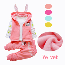 2016 New Velvet Baby Girls Clothes Sets 2pcs 3pcs Hooded Jackets Kids Clothes Toddler Girl Clothing Sets Hello Kitty Winter(China)