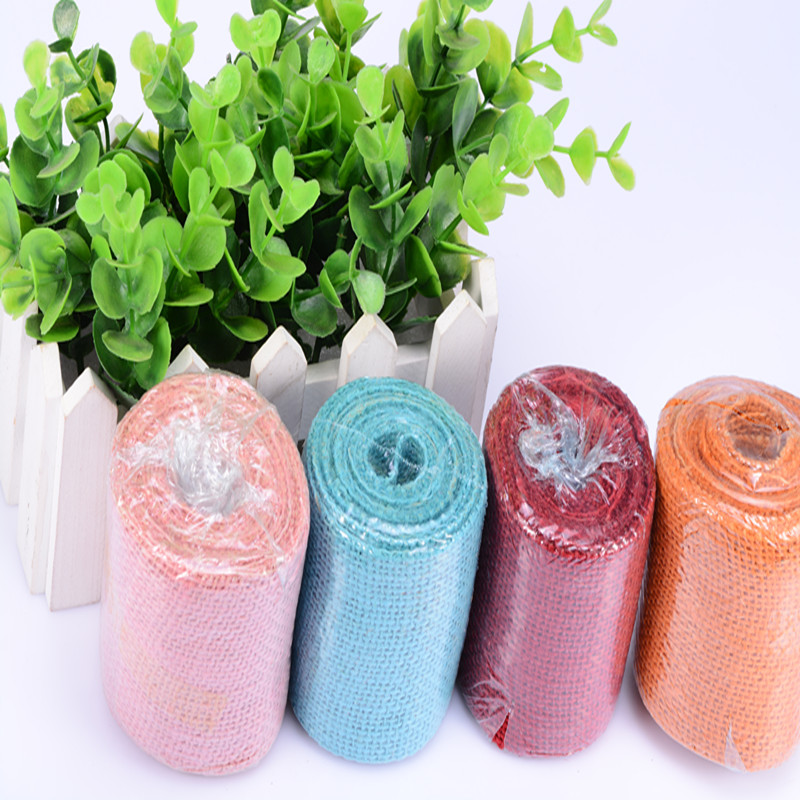 2m Colors Jute Hessian Burlap Cake Ribbon Wedding Anniversary Party Floristry Decorations 6.5cm Width Birthday Linen Strap Wrap(China)