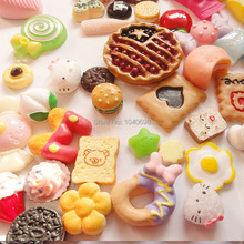 50pcs/lot candy/fruit/apple/egg/Hamburg/chocolate mix flat back cookies Toy Resin Christmas Children Gift Home Decoration Crafts