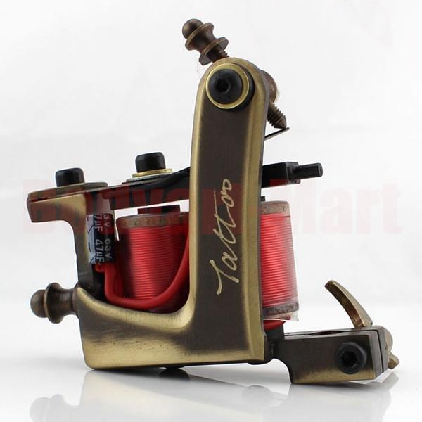 HOT Pro Liner Shader Brass Handmade Tattoo Machine Gun Copper 10 Wrap Coil Tattoo Machine Gun With Gift Box Supply JXM#<br>