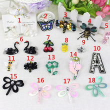 Sequins Beading Black Swan butterflies Patches Sewing On Patches Applique Badge Garment Craft DIY Apparel Sewing Accessories