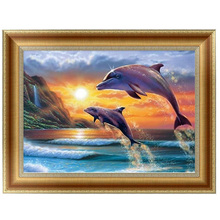 DIY 5D Diamonds Embroidery Dolphin Animal Round Diamond Painting Cross Stitch Kits Diamond Mosaic Home decor 42*30cm-P413