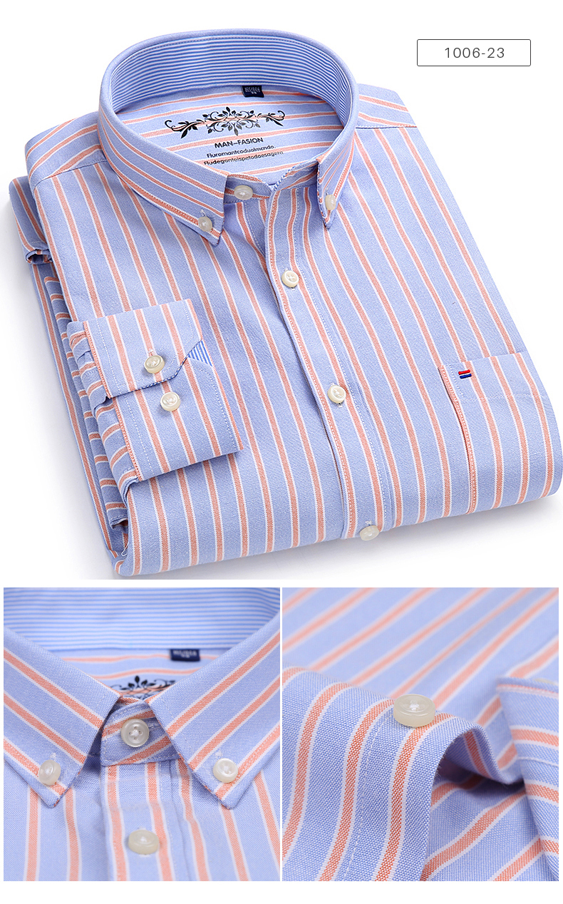 Men's Long Sleeve Contrast Plaid/Striped Oxford Dress Shirt with Left Chest Pocket Male Casual Slim-fit Buttoned Down Shirts 9