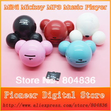 New Arrival Hot Sell 50pcs/lot Mini Cute Mickey Mouse MP3 Music Player Support Micro SD/TF Card 5 Colors Free Shipping