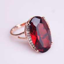 (Min order $15) free ePacket shipping Fashion Women Big Red stone gold GP Austrian Crystal Ring Get a ring box free(China)