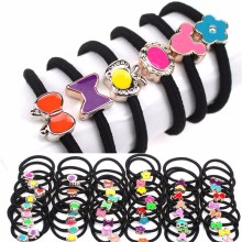 2016 Top Fashion New Solid Scrunchy Headband Girls Hair Elastic Bow Accessories Flower Bands Rubber Gum Ornaments 20pcs