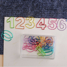 10PCS/LOT plated Colored Paper Clips Office Supplies Numbers Pin Metal Sliver Bookmarks Stationery Gift Book Line Marker(China)