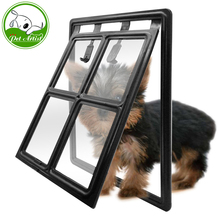 Black Plastic 2 Way Dog Cat Puppy Door For Screens Window Gate For Small Medium Large(China)