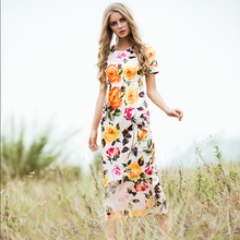 Luxury Noble Dress 2017 Spring Flowers Print Beautiful Dimonds Button Ladies New Split Topshop Novelty Charming Mid-Calf Dress
