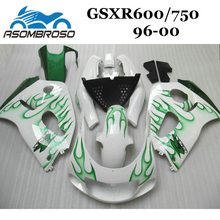 Free custom Fairing kit for Suzuki 1996 1997 1998 2000 GSXR750 GSXR600 96 97 98 99 00 GSXR 750 green flames ABS Fairings parts(China)