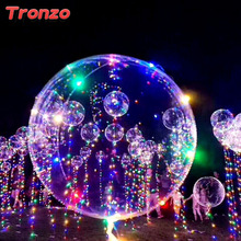 Tronzo 18 Inch Luminous Led Balloon + 3M 30 MIxcolor LED String Lights Helium Global Wedding Decoration Birthday Party Supplies(China)