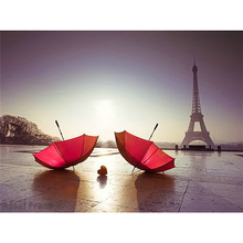 Eiffel Tower & Red Umbrella 100% Full DIY Diamond Painting Home Decor Diamond Embroidery Rhinestones Mosaic crafts gift 6005R