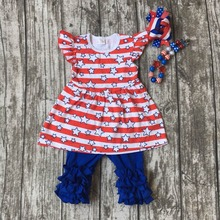 baby girls summer clothing children July 4th Patriotic clothes girls capri sets girls star with stripe outfits with accessories