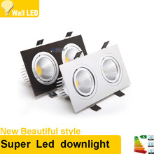Square Bright Recessed Double LED Dimmable Square Downlight COB 14W 20W LED Spot light decoration Ceiling Lamp AC 110V 220V(China)