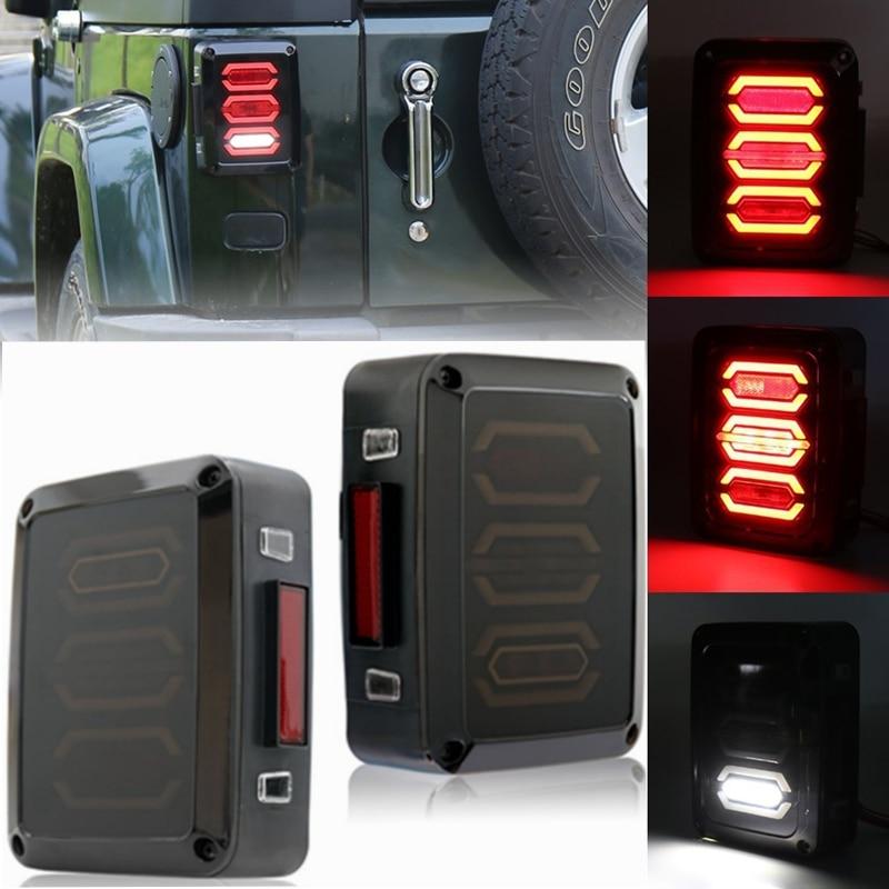 2X New Diamond Smoked Tail Lights for 07-17 Jeep Wrangler JK Brake Reverse Turn Lamp Daytime Running Trun Signal Light<br>