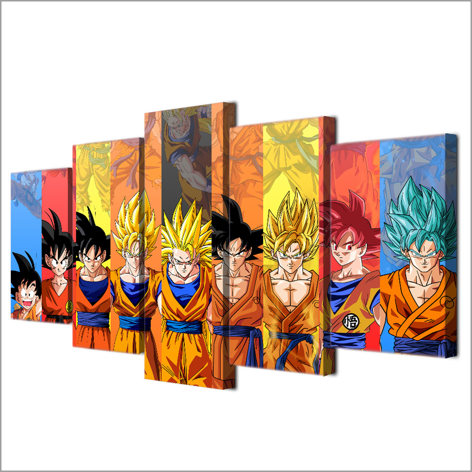 5 piece canvas art dragon ball Z poster Goku modeling canvas painting wall pictures for living room modular ArtSailing up-1480B 3