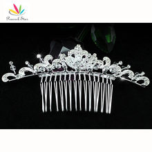 Bridesmaid Bridal Wedding Party Quality Crystal Silver Color Hair Slide Comb CT1356